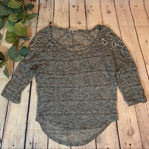 Charlotte Russe Embellished 3/4 Sleeve Sweater